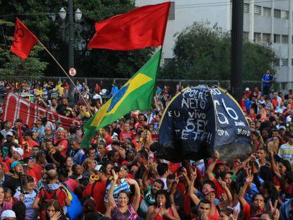 Ato pela aprovação do Plano Diretor nesta terça em São Paulo.