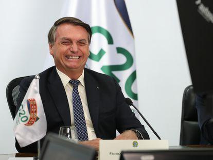 Bolsonaro durante reunião virtual do G20.