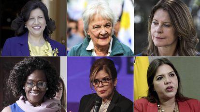 Fotografias de arquivo de 6 das 11 vice-presidentas latino-americanas. A dominicana Margarita Cedeño, a uruguaia Lucía Topolansky, a colombiana Marta Lucía Ramírez, a costarriquenha Epsy Campbell, a peruana Mercedez Araoz e a equatoriana María Alejandra Vicuña.