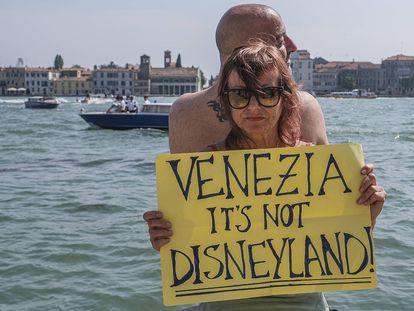 Manifestante na semana passada, em Veneza.