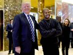 "(FILES) In this file photo taken on December 13, 2016 singer Kanye West and President-elect Donald Trump speak with the press after their meetings at Trump Tower in New York. - Kanye West, the entertainment mogul who urges listeners in one song to ""reach for the stars, so if you fall, you land on a cloud,"" announced SJuly 4, 2020, he is challenging Donald Trump for the US presidency in 2020. (Photo by TIMOTHY A. CLARY / AFP)"