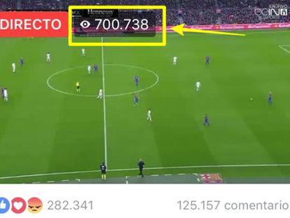 Tela que mostra a transmissão de Barcelona x Real Madrid de dezembro do ano passado, com mais de 700.000 espectadores conectados nesse momento.