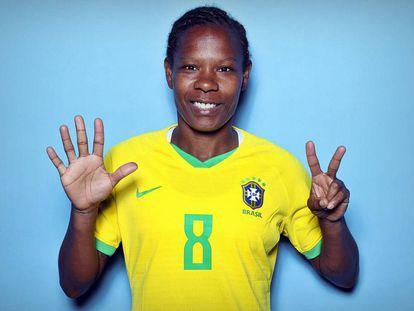 Formiga, única jogadora na história a disputar sete Copas do Mundo.