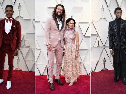 Stephan James, Jason Momoa com Lisa Bonet e Chadwick Boseman: quem não arrisca não vontade. Em vídeo, as estrelas caminham pelo tapete vermelho dos Oscar.