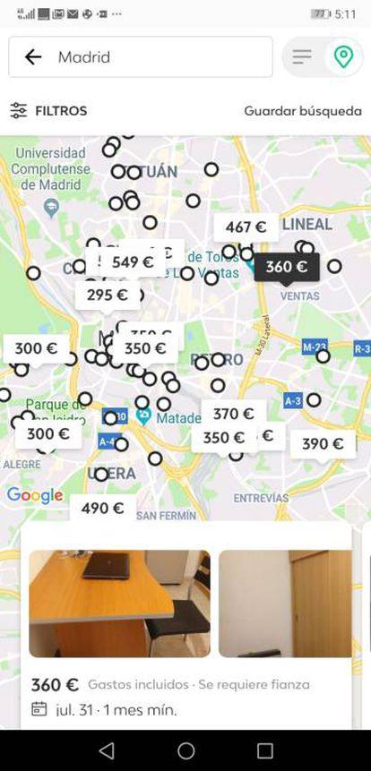 Anúncios de quartos em Madri no app Badi.
