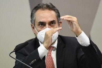 Carlos Murillo, presidente da Pfizer na América Latina, durante a CPI da Pandemia.
