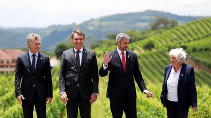 Macri, Bolsonaro, Benítez e Topolansky, representantes do Mercosul.