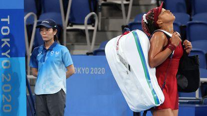 A tenista japonesa Naomi Osaka, depois de ser eliminada pela russa Vondrousova, nesta quarta-feira.