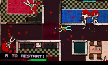 Cena do game 'Hotline Miami', que provoca uma reflexão no jogador sobre a violência exercida, graças a uma decisão de projeto: deixar que ele chegue praticamente em silêncio ao final de cada nível, como espectador de seu massacre.