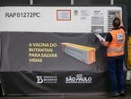 An airport worker checks a container carrying the experimental COVID-19 vaccine CoronaVac after it was unloaded from a cargo plane that arrived from China at Guarulhos International Airport in Guarulhos, near Sao Paulo, Brazil, Thursday, Nov. 19, 2020. The experimental vaccine is being tested in a partnership with the Butantan Institute and Chinese pharmaceutical company Sinovac. (AP Photo/Andre Penner)