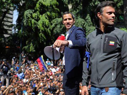 Juan Guaidó e Leopoldo López no dia 30 de abril de 2019 em Caracas.