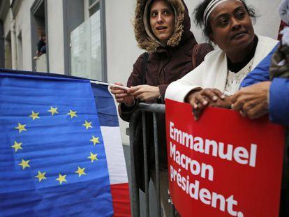 Apoiadores de Emmanuel Macron.
