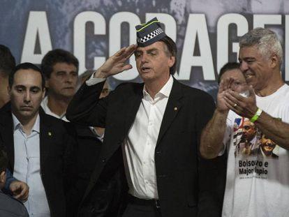 Jair Bolsonaro,na convenção de seu partido, em São Paulo.