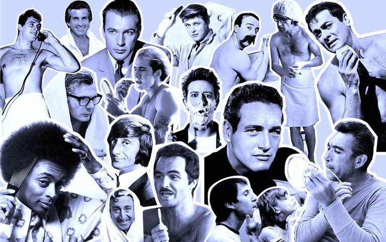Paul Newman, Tony Curtis, Gary Cooper, Spike Lee, Burt Reynolds, Anthony Quinn... ícones da masculinidade dando um trato no rosto.