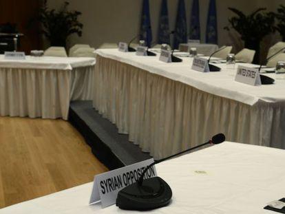 O assento da oposição síria para a conferência de Genebra II.