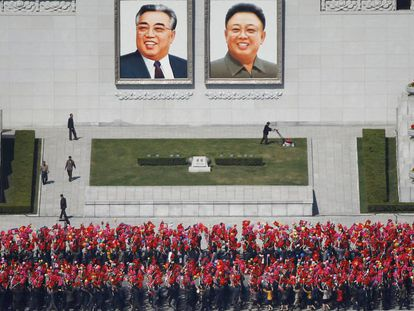 Os ensaios para o desfile em homenagem a Kim Il-Sung, em Pyongyang, na quarta-feira.