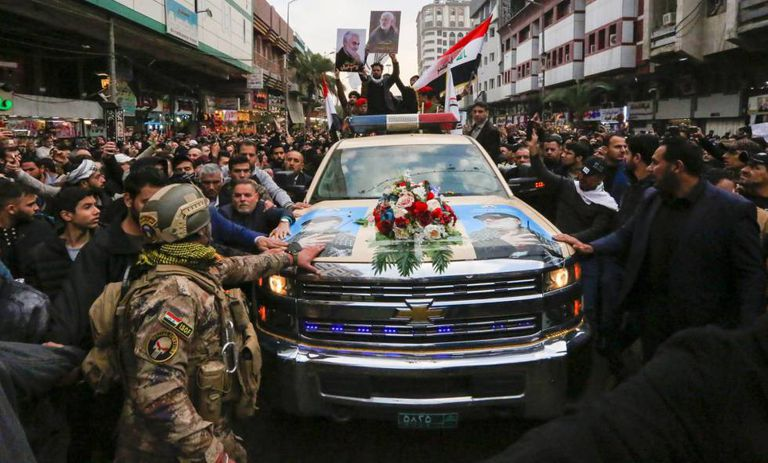 Funeral do general iraniamo Qasem Soleimani, que começou neste sábado em Bagdá.