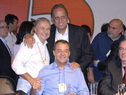 Cabral, Pezão e Cunha em convenção do PMDB no Rio.