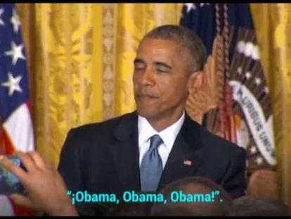 """""""Mais respeito, você está na minha casa"""", diz Obama a ativista que o interrompeu"""