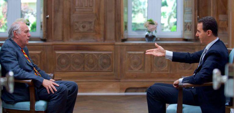 O presidente sírio, Bashar al-Assad, durante a entrevista à France Presse.