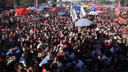 Ato político no Largo da Batata, em SP, no domingo, 4.