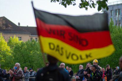 Simpatizantes do AfD, em 29 de abril na Saxônia.