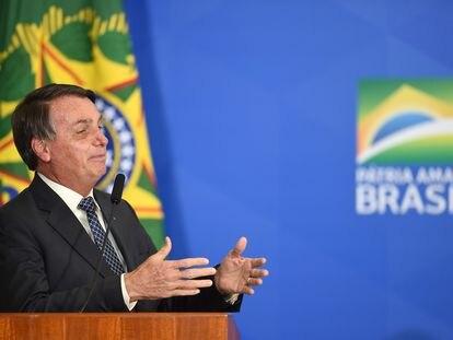 Bolsonaro discursa em cerimônia no Palácio do Planalto no dia 19 de agosto.