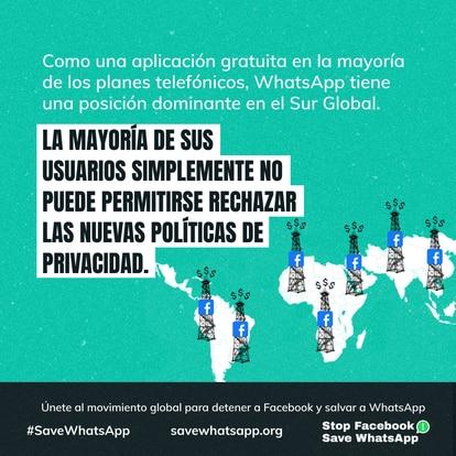 Publicidade em espanhol da campanha Parem o Facebook Salvem o WhatsApp.