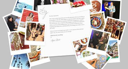 A carta de despedida de Meghan Markle em seu blog The Tig e algumas fotos pessoais.