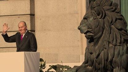O rei emérito Juan Carlos em 2018, durante um ato parlamentar em homenagem aos 40 anos da Constituição espanhola.