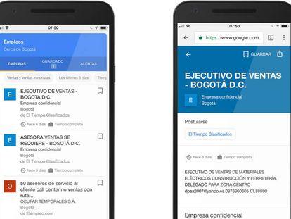 Função do Google Emprego no celular.