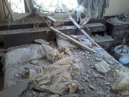 Uma bomba atingiu o quarto do casal,. Arquivo pessoal.