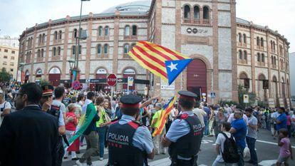 Ato de campanha a favor do referendo sobre a independência na Tarraco Arena, em Tarragona