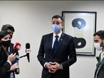O senador Rodrigo Pacheco conversa com a imprensa em 21 de janeiro.