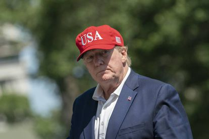 Donald Trump, no domingo em sua chegada à Casa Branca após o fim de semana em Camp David.