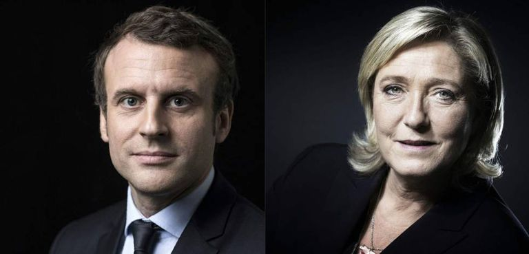 Emmanuel Macron e Marine Le Pen, que se enfrentarão no segundo turno.