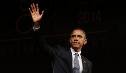 Barack Obama durante a comemoração do 50 aniversário da Ley de Derechos Civiles.