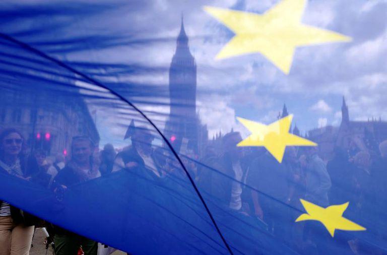 Uma bandeira europeia em Londres.