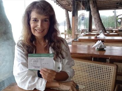 A vacinada (e aniversariante) Marisa Torres.