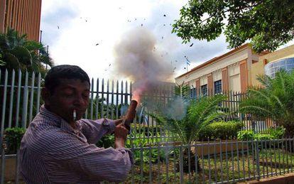 Protesto em frente ao Parlamento em Manágua.