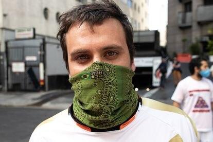 Renato Assad, 27 anos. Motoentregador durante breque dos apps, em São Paulo.