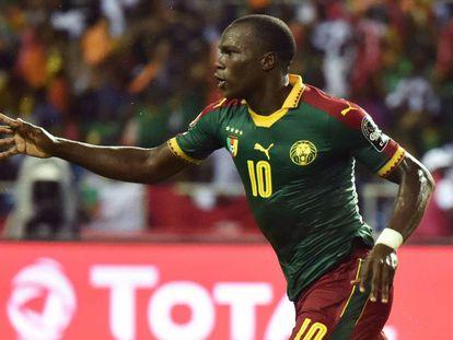 Aboubakar celebra o gol da vitória.