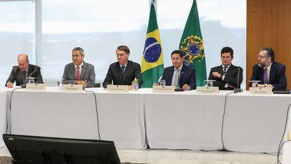 A última reunião de ministros em que Moro esteve, em 22 de abril, em Brasília.