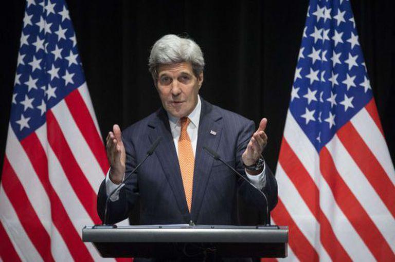 O secretário de Estado Kerry neste sábado em Lausana.