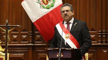 Manuel Merino quando tomou posse como presidente.