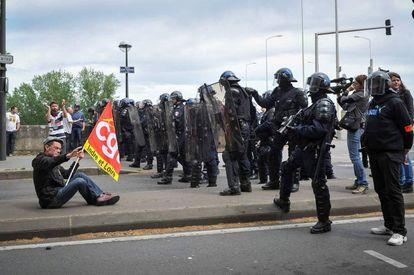 Protesto contra reforma trabalhista na França, nesta quinta.