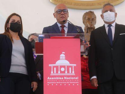 O presidente do Parlamento da Venezuela, Jorge Rodríguez, em uma entrevista coletiva nesta quarta-feira em Caracas.