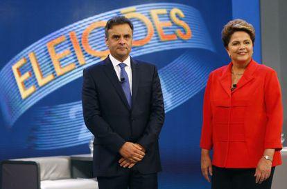 Aécio e Dilma, durante o debate na Globo.