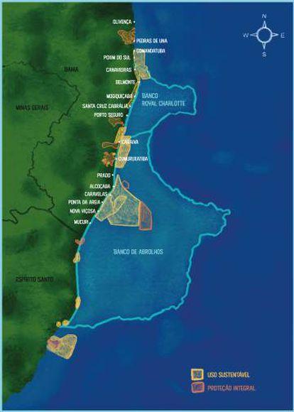 Mapa mostra o Parque Nacional Marítimo de Abrolhos.