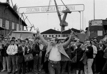 Lech Walesa em um uma mobilização em Gdansk em 1983.